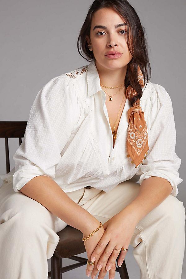 Pilcro Lace-Back Buttondown Shirt