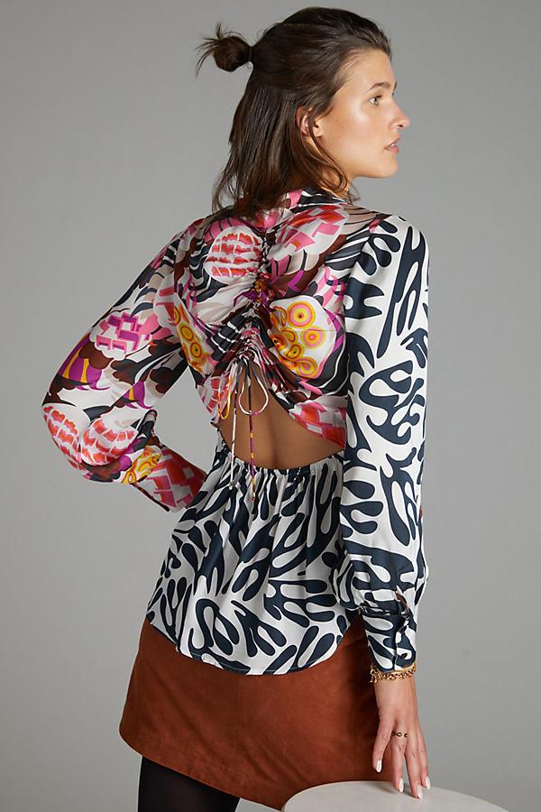Let Me Be Floral Cut-Out Buttondown Shirt
