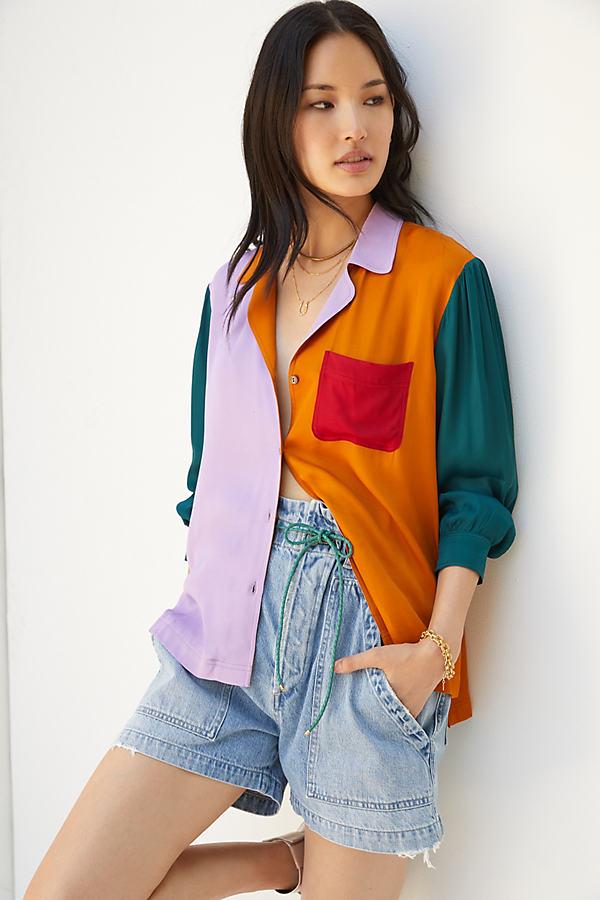Farm Rio Puff-Sleeved Buttondown Shirt