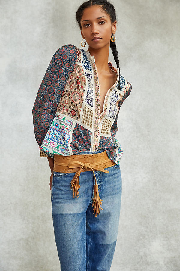 Pilcro Printed Patchwork Blouse