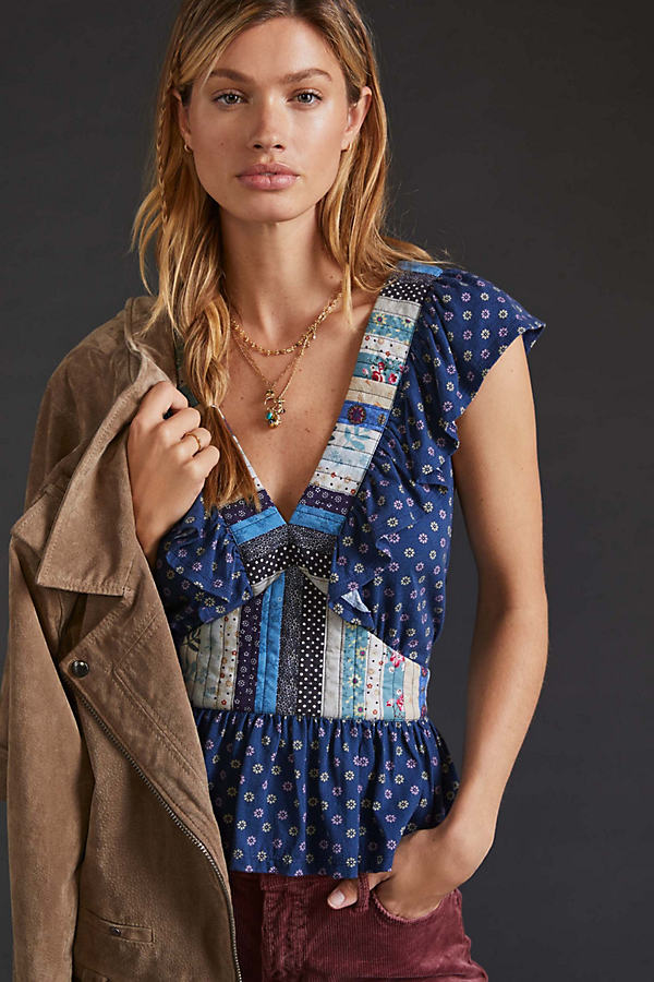 Let Me Be Ruffled Patchwork Top