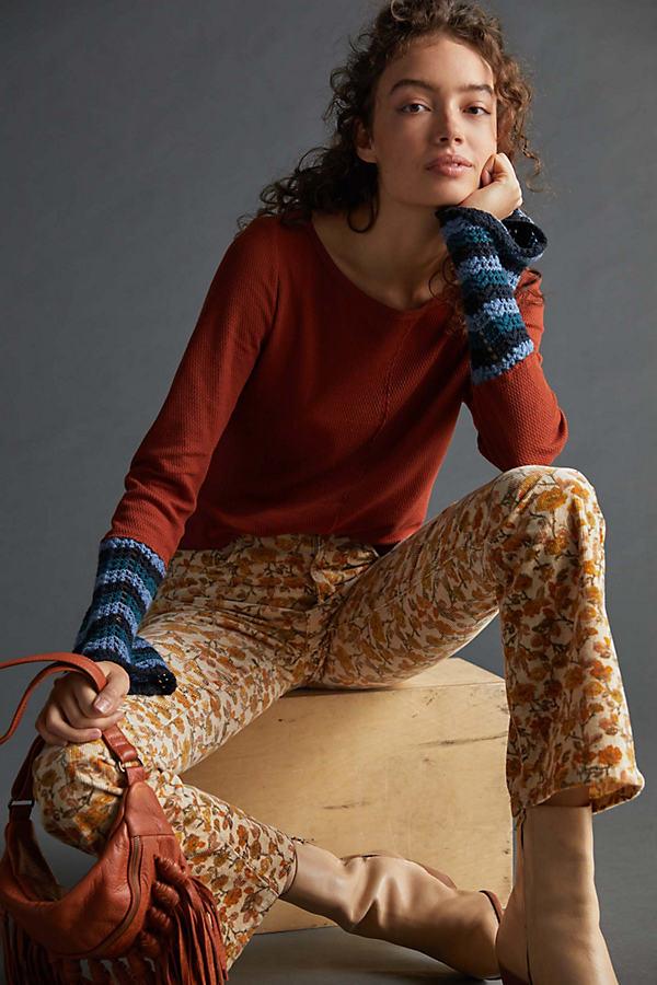Pilcro Crochet-Cuffed Top