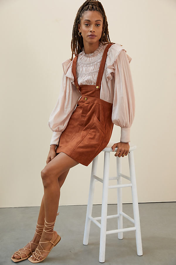 Pilcro Sueded Overall Skirt
