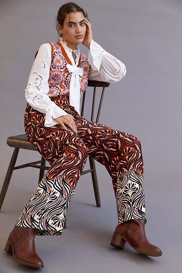 Breezy Printed Straight Trousers