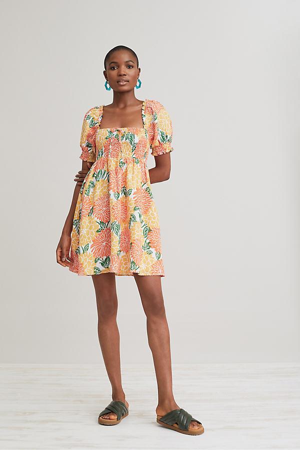 Faithfull the Brand Smocked Linen Mini Dress