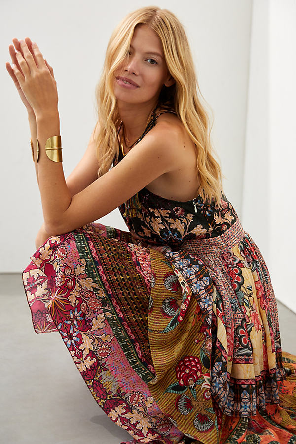Bhanuni by Jyoti Tiered Halter Maxi Dress