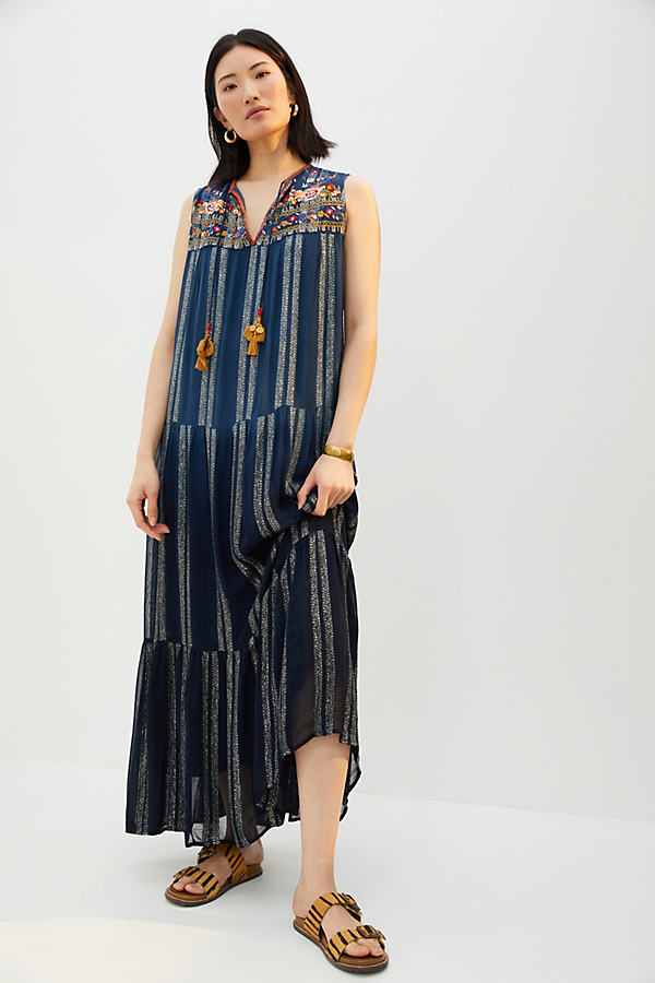Verb by Pallavi Singhee Embroidered Shimmer Maxi Dress