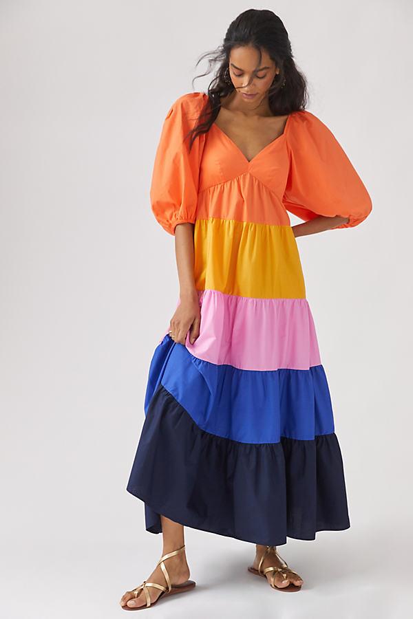 Farm Rio Tiered Colourblocked Maxi Dress