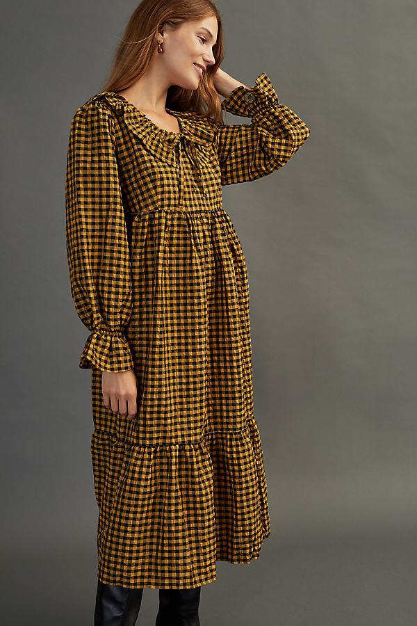Damson Madder Gloria Crinkle Midi Dress