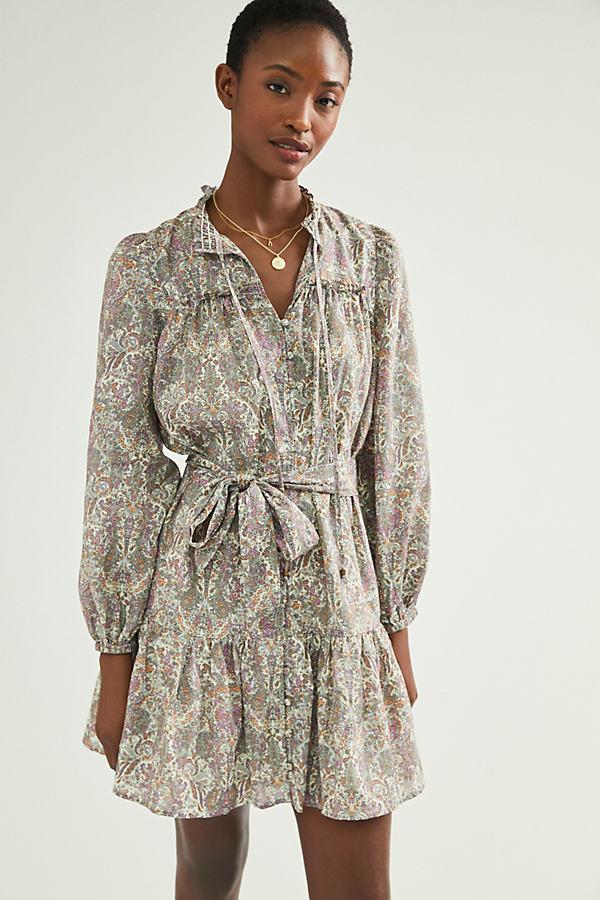 Sachia Printed Mini Shirt Dress