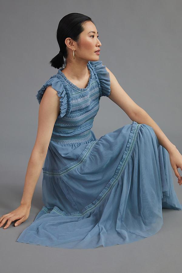 Smocked Contrast Maxi Dress