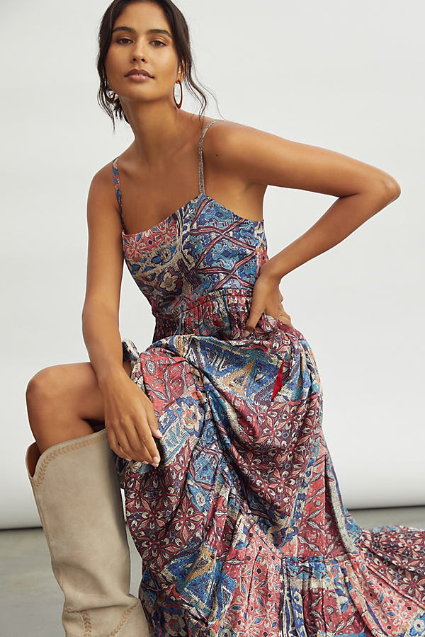 Nikita Mhaisalkar Abstract Tiered Maxi Dress