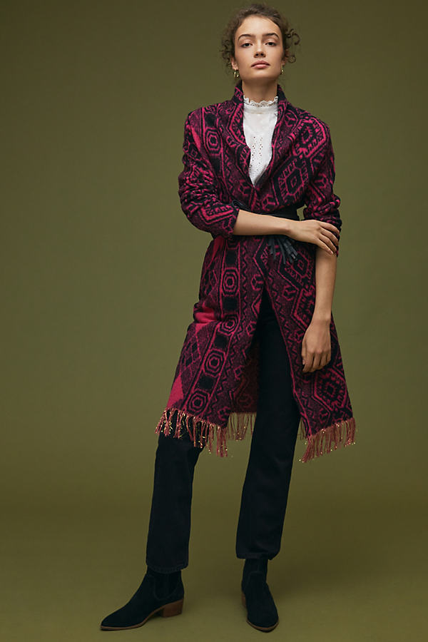 Vilagallo Abstract Fringed Knitted Coat
