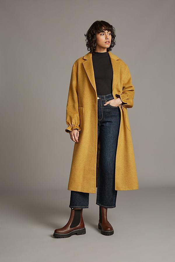 Gathered-Cuff Single-Breasted Coat