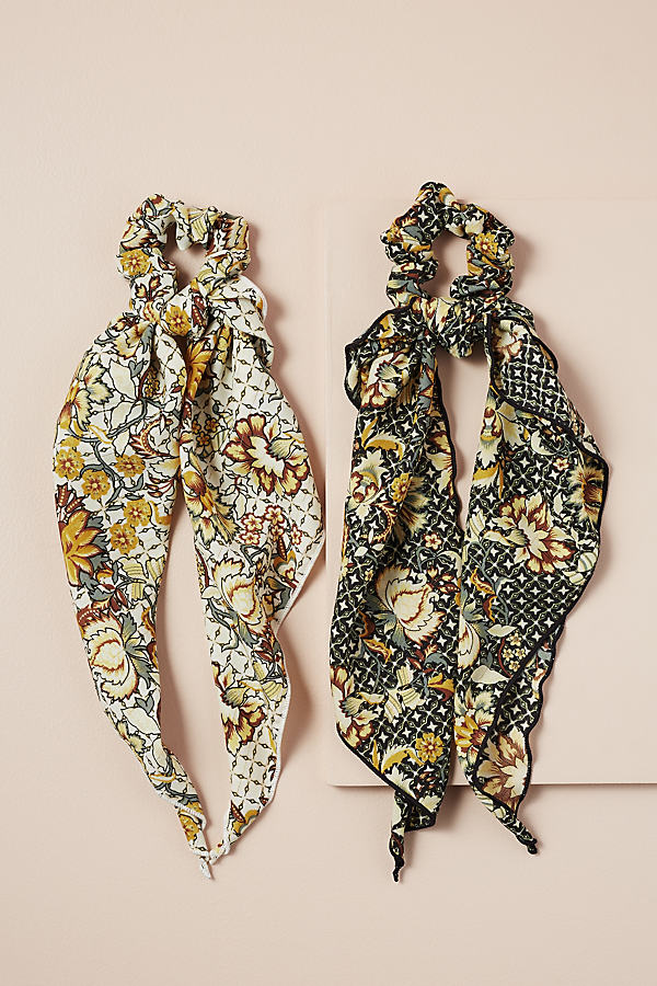 Set of 2 Floral-Print Scarf Scrunchies