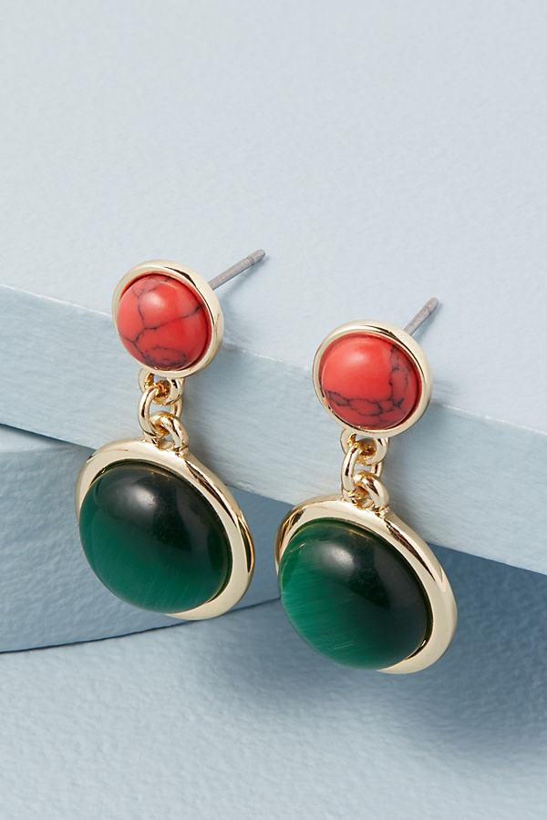 Stone Double-Drop Earrings
