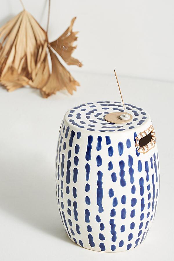 Indigo-Striped Ceramic Stool