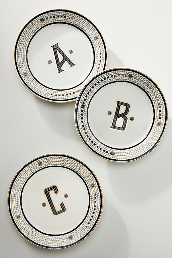 Bistro Tile Monogram Dessert Plate
