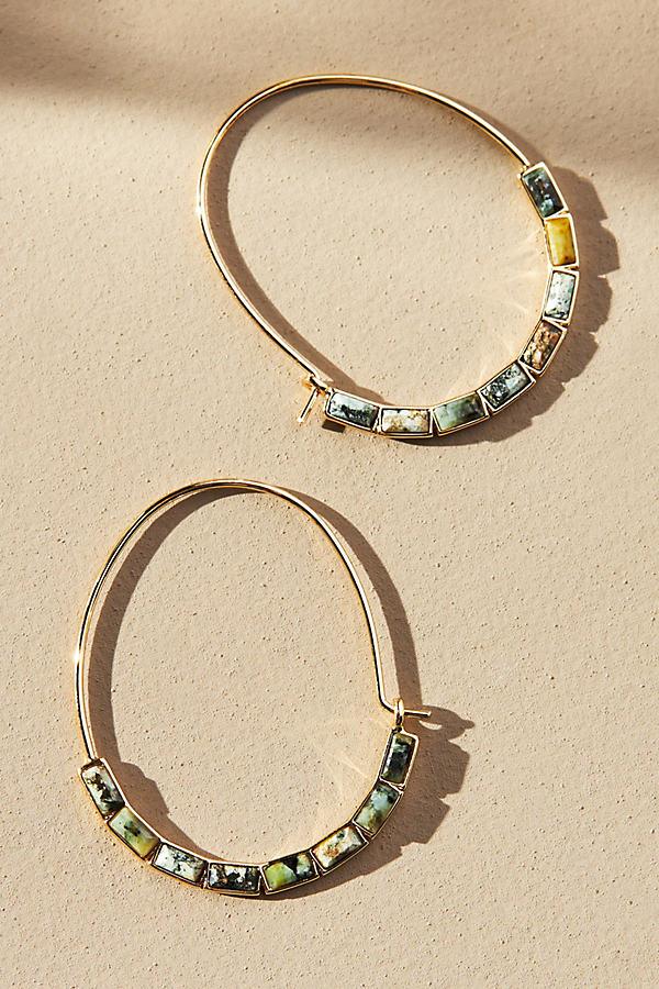 Baguette Embellished Hoop Earrings