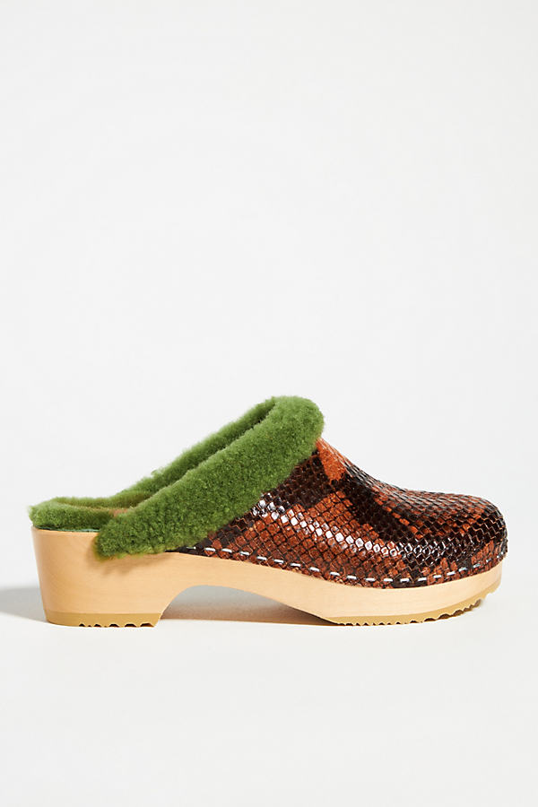 Swedish Hasbeens Shearling-Lined Clogs