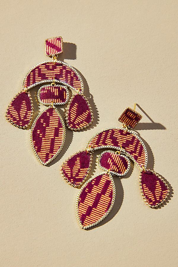 Textile-Embellished Drop Earrings