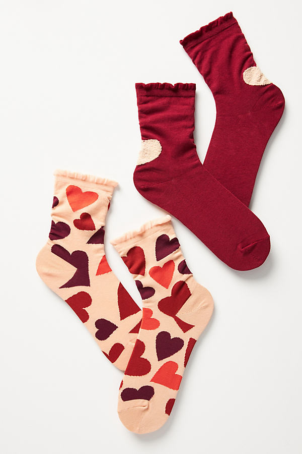 Hansel From Basel Heart Crew Sock Set In Pink